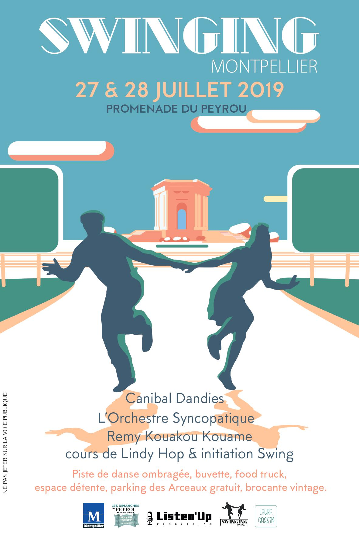 Affiche de l'année 2019 du festival de musiques et de danses swing, Swinging Montpellier