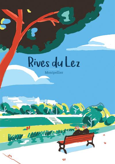 Affiche des Rives du Lez réalisée par l'illustratrice Laura Gassin