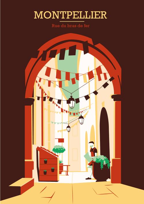 Affiche de la rue du bras de fer réalisée par l'illustratrice Laura Gassin