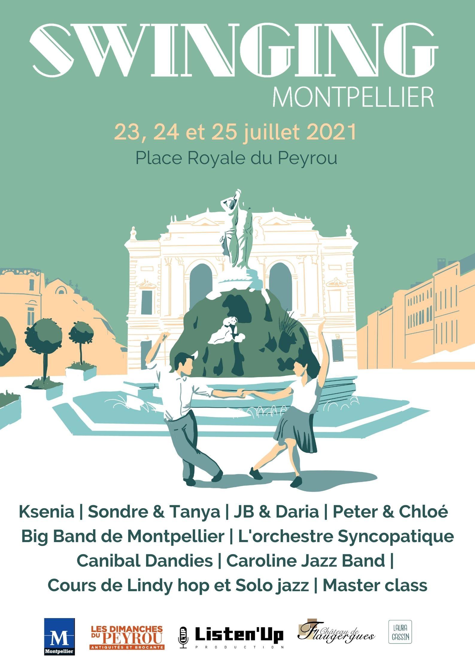 Affiche officelle de l'année 2021 du Festival international de musiques et de danses swing , Swinging Montpellier