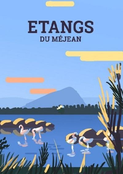Affiche de l'illustratrice Laura Gassin de l'étangs du Méjean à Montpellier